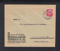 Dt. Reich Polen Poland Brief Sinner Liköre Gross Massow Lauenburg - Allemagne