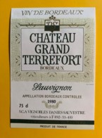 9998 - Château Grand Terrefort 1980 Sauvignon - Bordeaux