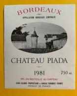 10004 - Château Piada 1981 - Bordeaux