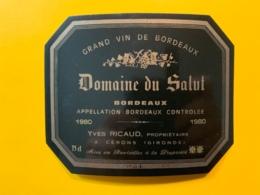 10009 -  Domaine Du Salut 1980 Inscription Manuscrite Au Verso Marque Déposée Spécimen - Bordeaux