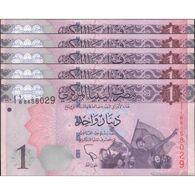 TWN - LIBYA 76 - 1 Dinar 2013 DEALERS LOT X 5 - Series 1 - Various Prefixes UNC - Libia
