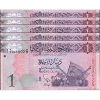 TWN - LIBYA 76 - 1 Dinar 2013 DEALERS LOT X 5 - Series 1 - Various Prefixes UNC - Libya