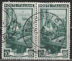 Timbro Tondo S. ANTIOCO - CAGLIARI - 28-12-1952 - 10 Lire Coppia, Italia Al Lavoro - 6. 1946-.. Repubblica