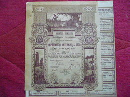 ROUMANIE / ROMANIA : : BOND   De 5000 LEI  EMPRUNT 5  1920  Nombreux Coupons - Actions & Titres