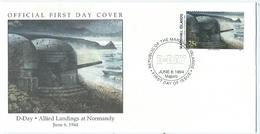 Enveloppe 1er Jour Marshall Islands FDC Debarquement 6 Juin 1944 - Marshall