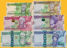 Turkmenistan Set 1 5 10 20 50 100 Manat 2012 - 2014 UNC - Turkménistan