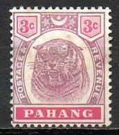 MALAISIE - PAHANG - (Protectorat Britannique) - 1895-99 - N° 10 - 3 C. Violet-brun Et Carmin - (Tigre) - Pahang