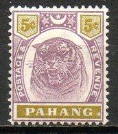 MALAISIE - PAHANG - (Protectorat Britannique) - 1895-99 - N° 12 - 5 C. Violet-brun Et Olive - (Tigre) - Pahang