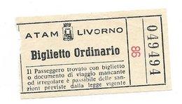 Biglietto Ordinario Tranvai Autobus Livorno Anni 50/60 - Tramways