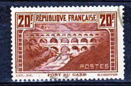 France 262 D Pont Du Gard IIA Oblitéré Used Dents Rognées - France