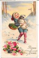 Cpa Enfant Dans La Neige, Son Chien Dans Les Bras - Illustration - Scènes & Paysages