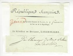 LABAROLIERE (?-?) CAEN GENERAL REVOLUTION EMPIRE 1801 AUTOGRAPHE ORIGINAL AUTOGRAPH /FREE SHIP. R - Autographs