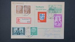 Sarre Entier Postal CP 48 Recommandé Avec Réponse Payée 31 Decembre 1956 , Postal Stationery With Reply Used - Entiers Postaux