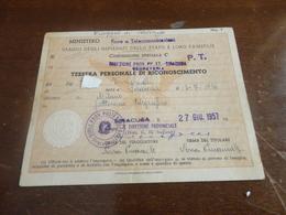 TESSERA PER VIAGGIO IN TRENO IMPIEGATI POSTE E TELEGRAFI-1957 - Abonnements Hebdomadaires & Mensuels