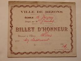 Billet D'honneur Décerné à Lélève Allais Ville De Bezons Dirigé Par Mr Gauchet. - Diploma & School Reports