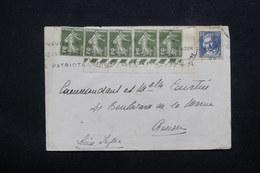 FRANCE - Enveloppe Pour Rouen, Affranchissement Plaisant Semeuses En Bande De 5 Coin Daté + Jacquard - L 22838 - Marcophilie (Lettres)
