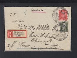 Dt. Reich R-Brief 1928 Schloss Fürstenstein Bz. Breslau Pole Poland Nach Wien Weiter Frankreich - Germania