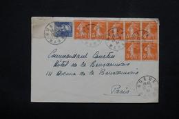 FRANCE - Enveloppe De Gueux Pour Paris En 1934 , Affranchissement  Semeuses  + Jacquard - L 22839 - 1921-1960: Periodo Moderno
