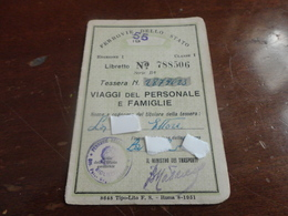 TESSERA VIAGGI DEL PERSONALE FERROVIE DELLO STATO-1955 - Abonnements Hebdomadaires & Mensuels