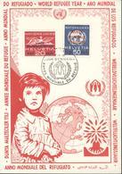 Année Mondiale Du Réfugié CAD Illustré 1er Jour D'émission Suisse Services Des Nations Unies 1959 1960 YT 408 409 - Brieven En Documenten