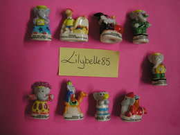 Serie Complète De 9 Fèves En Porcelaine BABAR VII Embouts De Crayons 2003 ( Feve Figurine Miniature ) Rare - Dessins Animés