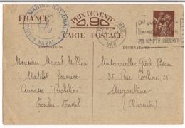 Entier Postal Type Iris 1940 Cachet ( Marine Natinnal Toulon Naval ) Destination Angoulème - Entiers Postaux