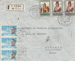 St Tomé Lettre Recommandée Pour La Suisse 1956 - St. Thomas & Prince
