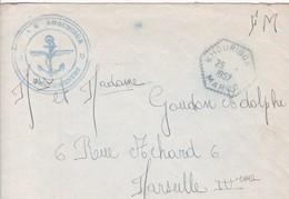 ENVELOPPE Avec Cachet B.A.N - KHOURIBGA - Le Vaguemestre -  B.A.N - Destinaire à MARSEILLE - Marcophilie (Lettres)