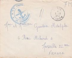 ENVELOPPE Avec Cachet B.A.N - POSTE NAVALE 1957- Le Vaguemestre -  B.A.N - Destinaire à MARSEILLE - Marcofilie (Brieven)
