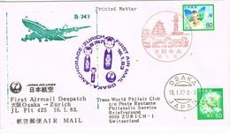 31874. Carta Aerea First Fligth OSAKA (Japon) 1983. Vuelo Anchorange-Osaka-Zurich - Airmail