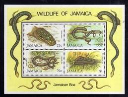JAMAICA GIAMAICA 1984 FAUNA REPTILES WILDLIFE BOA SNAKES RETTILI SERPENTI BLOCK SHEET BLOCCO FOGLIETTO BLOC FEUILLET MNH - Giamaica (1962-...)