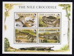 GAMBIA 1984 FAUNA REPTILES THE NILE CROCODILE COCCODRILLO BLOCK SHEET BLOCCO FOGLIETTO MNH - Gambia (1965-...)