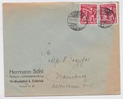 BRIEF EDDELAK HOLSTEIN HERMANN SÖHL MÜLLEREI U. GETREIDEHANDLUNG WESTERBÜTTEL HAMBURG 21.11.1935 STEMPEL DEUTSCHES REICH - Allemagne