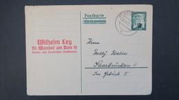 Sarre Entier Postal CP 41 De St Wendel Pour Saarbrucken  1951  , Postal Stationery Used From St Wendel 1951 - Entiers Postaux