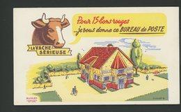 BUVARD:  LA VACHE SERIEUSE - BUREAU DE POSTE- (ILLUSTR. G LALARD) - FORMAT  Env. 10,5X18 Cm - Produits Laitiers