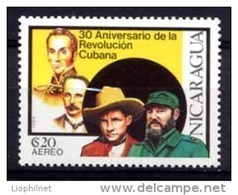 NICARAGUA 1989, 30e Anniversaire REVOLUTION CUBAINE, 1 Valeur, Neuf / Mint. R329 - Nicaragua