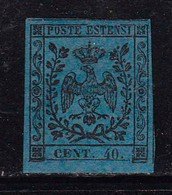 MODENA -1852-catalogo Sassone N° 6 - 40 Cent. Azzurro Scuro- Nuovo Senza Gomma - Modène