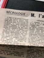 Un Article De Journal Sur La Disparition Brutale De M.l'abbé Jean-Baptiste Papillon Aumonier à L'Abbaye De Valloire - Religion & Esotérisme