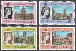 Montserrat. 1976 25th Anniv Of Coronation. Mint Hinged Complete Set. SG 422-425 - Montserrat