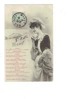 Cpa - EDITION BERGERET - 1er Avril - Femme élégante Menu Coquilles Arcachon Anchois Thons Huile Foie De Morue - Bergeret