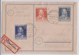 MANNHEIM EINSCHREIBEN POSTKARTE 09.06.1947 CARTE POSTALE VIGNETTE RECOMMANDEE REGISTERED LABEL POSTCARD - Germany