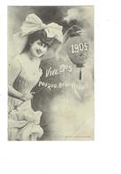Cpa - EDITION BERGERET - Année 1905 - Femme élégante épaules Nues Nœud Cheveux - Lampion Baguette - Bergeret
