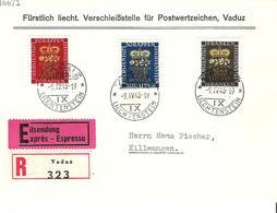 LIECHTENSTEIN 1945: Geburt Erbprinz Zu 207-209 Mi 240-242 Yv 215-217 Auf R-FDC Mit O VADUZ 9.IV.45 (Zumstein CHF 25.00) - FDC