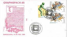 31884. Carta BARCELONA 1985. Salon Artes Graficas GRAPHISPACK 85 - 1981-90 Cartas