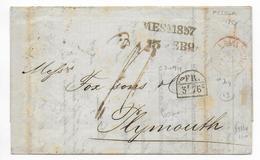 1857 - MARITIME - LETTRE De MESSINA (SICILE) => PLYMOUTH (GB) Avec ENTREE En FRANCE Par MARSEILLE  DEUX-SICILES ROUGE - Sicile