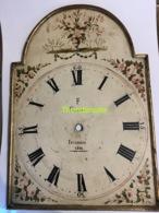 ORIGINELE 1812 ANTIEKE HOUTEN WIJZERPLAAT STAANDE KLOK HANDBESCHILDERD CALLENS ISEGHEM IZEGEM  1812 - Bells