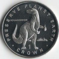 Isle Of Man. Coin. 1 Crown. 1993. UNC. Dinosaur. Iguanodon. The Great Coin - Monnaies Régionales