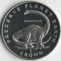 Isle Of Man. Coin. 1 Crown. 1993. UNC. Dinosaur. Diplodocus. The Great Coin - Monnaies Régionales