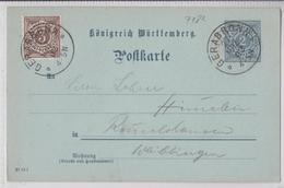 GERABRONN KÖNIGREICH WÜRTTEMBERG POSTKARTE 27.03.1902 - Wurtemberg