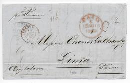 """1849 - MARITIME - LETTRE De BORDEAUX Avec T15 ROUGE ! PORT PAYE VOIE ANGLAISE => LIMA (PEROU) Par Le PAQUEBOT """"PANAMA"""" - 1849-1876: Periodo Classico"""